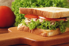 Tuna Sandwich. Tuna, sandwich, tomato, vegetable, table cloth, chopping board, cucumber, breakfast, healthy, food, snack, lettuce, salad, napkins, meal royalty free stock photography