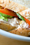 Tuna sandwich with tomatoes and cucumber. Stock Photos