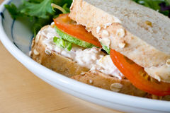 Tuna sandwich with tomatoes and cucumber. Royalty Free Stock Photo