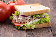 Tuna sandwich on wood Stock Images