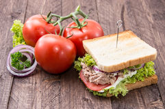 Tuna sandwich on wood Stock Photo