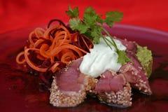 Tuna sashimi. With sesame and wasabi maynonnaise Stock Image