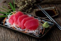 Tuna sashimi Japanese style. Tuna sashimi blue fin tuna slice Japanese style serve royalty free stock photography