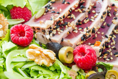 A tuna sashimi with fresh salad , raspberry and nut Royalty Free Stock Image
