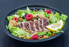 Tuna sashimi with fresh salad , raspberry and nut. Some tuna sashimi with fresh salad , raspberry and nut Stock Photography