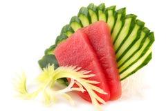 Tuna sashimi. Japanese couisine - fresh raw tuna sashimi with sliced cucumber isolated on white background Stock Photo