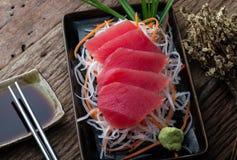 Tuna sashimi Japanese style. Tuna sashimi blue fin tuna slice Japanese style serve stock photography