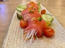 Tuna Sashimi with radish. Japanese cuisine . Delicious . Close up. stock photos