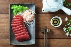 Tuna sashimi. Raw fish in traditional Japanese style royalty free stock photography