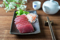 Tuna sashimi. Raw fish in traditional Japanese style royalty free stock photos