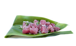 Tuna Sashimi Salad - Ahi Poke. Poke (pronouced: Po-Kay)  is a raw fish tartare salad served as an appetizer in Hawaiian cuisine.  This one is made with Cubed Ahi Stock Images