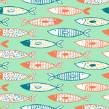 Tuna seamless pattern vector decorative fish set. Seamless pattern vector doodle decorative fish set on blue background Royalty Free Stock Photo