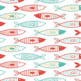 Tuna seamless pattern vector decorative fish set. Seamless pattern vector doodle decorative fish set on white background Stock Photography