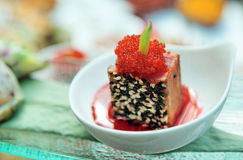 Tuna with sesame and tobico caviar Stock Image