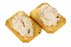 Tuna spread biscuit. Isolated on white background Royalty Free Stock Photo