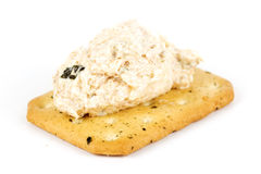 Tuna spread biscuit. Isolated on white background Royalty Free Stock Image
