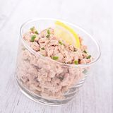Tuna spread. Glass of gourmet tuna spread stock image