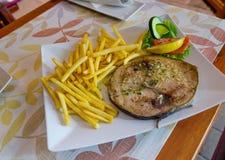 Tuna steak plate Stock Photo