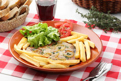 Tuna steak portuguese dish-mediterranean diet Stock Photography