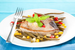 Tuna steak prepared whith vegetables Stock Photos