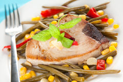 Tuna steak prepared whith vegetables Stock Photos