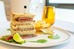 Tuna steak sandwich Royalty Free Stock Images