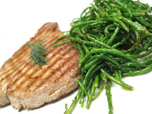 Tuna steak tilted Stock Image