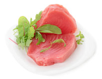 Tuna steaks with salad isolated on white Royalty Free Stock Image