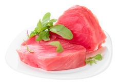 Tuna steaks with salad isolated on white. Background Stock Photos