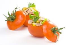 Tuna stuffed tomato celery corn soya bean Royalty Free Stock Images