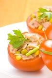 Tuna stuffed tomato celery corn soya bean Royalty Free Stock Photos