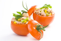 Tuna stuffed tomato celery corn soya bean Stock Photos