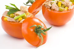 Tuna stuffed tomato celery corn soya bean Royalty Free Stock Photo