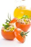 Tuna stuffed tomato celery corn soya bean Stock Image