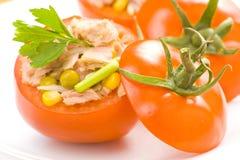 Tuna stuffed tomato celery corn soya bean Stock Images