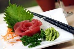 Tuna Sushi. Fresh tuna served with wasabi. Shallow DOF royalty free stock image