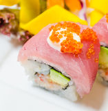 Tuna sushi. With avocado inside on white dish Stock Photo