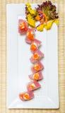 Tuna sushi. With avocado inside on white dish Royalty Free Stock Photo