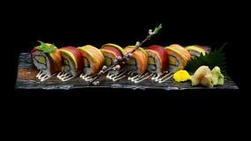 Tuna sushi maki roll and Salmon sushi maki roll. Japanese sushi fish roll. Japanese tradition fusion Stock Photography