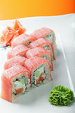 Tuna sushi on a plate closeup Royalty Free Stock Image