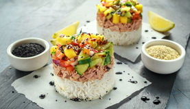 Tuna sushi stacks with mango, cucumber, tomatoes salsa served with balsamic vinegar, nigela ans sesame seeds.  royalty free stock photography