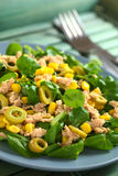 Tuna, Sweetcorn and Olive Salad Stock Photo