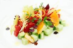 Tuna tartar with cucumber and orange Stock Photo