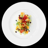 Tuna tartar with cucumber and orange, isolated Royalty Free Stock Images