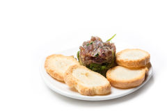 Tuna tartare with bread Royalty Free Stock Photo