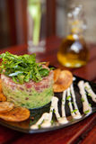 Tuna Tartare. Gourmet Dish with Chips royalty free stock photos