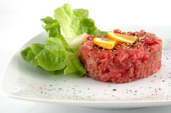 Tuna tartare isolated in white stock image