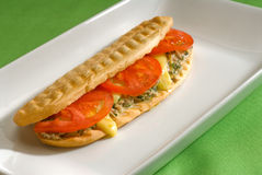 Tuna tomato and cheese grilled panini sandwich Stock Photos