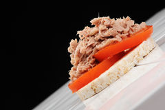 Tuna and Tomato on Rice cake. On a ceramic table, shot against black at an angle royalty free stock image
