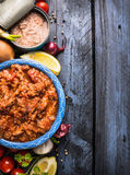 Tuna tomato sauce , ingredients on blue wooden background, top view, Stock Photo